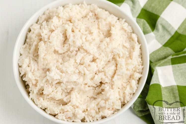 Stovetop rice made with coconut milk