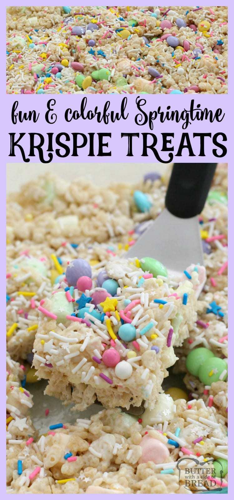 Fun Colorful Spring Rice Krispie Treats ~ Butter With A Side of Bread