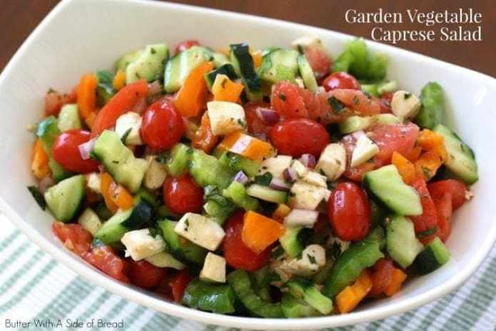 Garden Vegetable Caprese Salad from Butter With A Side of Bread~ using Crisp Cooking kitchen tools