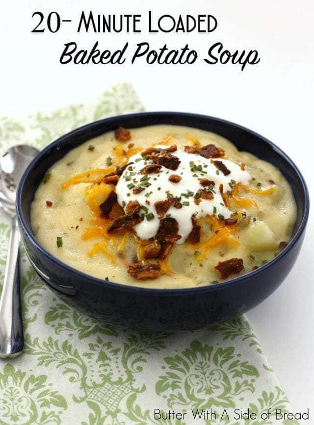 I took another popular soup recipe of mine and adapted it to use potatoes. The results were so delicious, I just had to share! I love, love, love how quickly this recipe comes together. Even better, it tastes like it's been simmering on the stove for hours. Add toppings as you'd like- cheddar cheese, sour cream and bacon with a few chives is how I enjoy it.