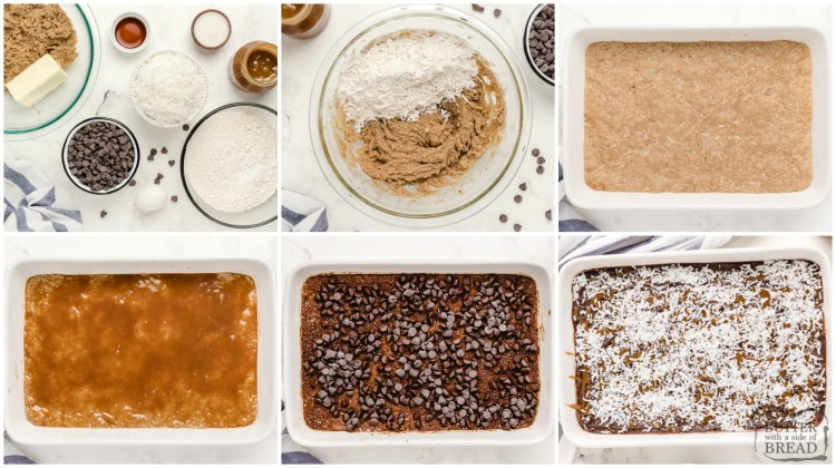 Step by step instructions on how to make samoa cookie bars