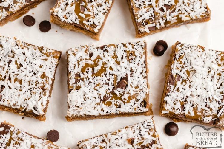 Cookie bars that taste like girl scout Samoa cookies