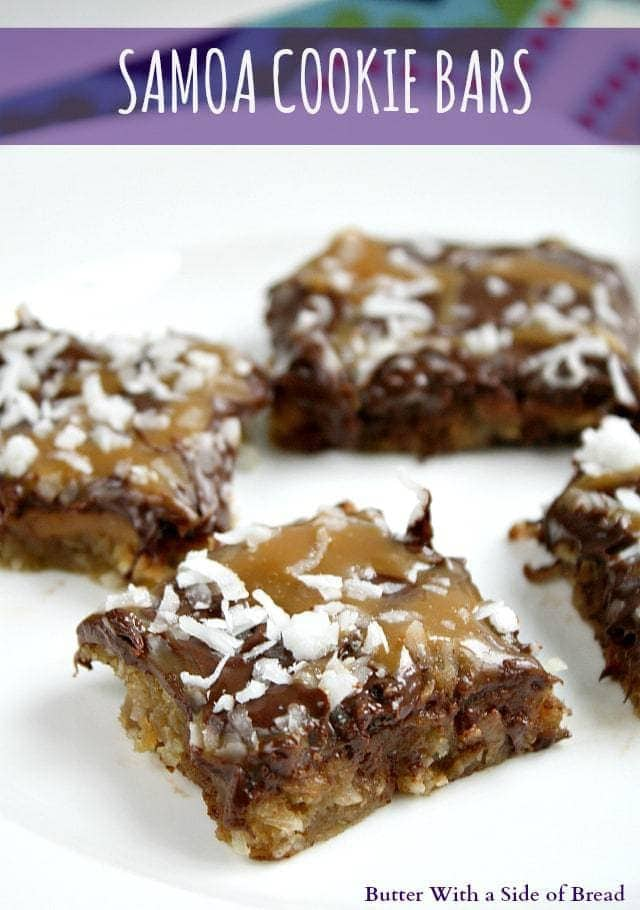 A few days ago, I realized that somehow I missed Girl Scout cookies this year. Apparently I don't know any Girl Scouts and never came across a cookie standat the grocery store! I was more than a little upset about missing out on this annual treat, but then I came across this recipe for Samoa Cookie Bars and I can honestly say that these bars are even better than Samoa Cookies. They are so moist, chocolatey and have so much caramel....they are absolutely amazing! The best part is that you can make these any time you want...all year long!