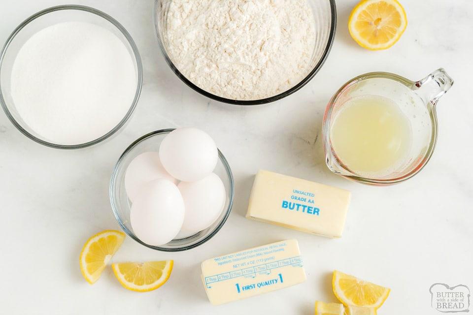 Lemon Bar recipe ingredients