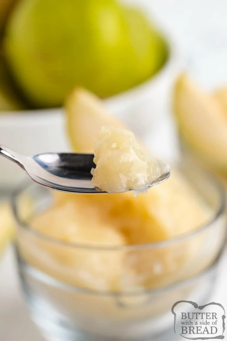 Bite of sorbet made with fresh pears