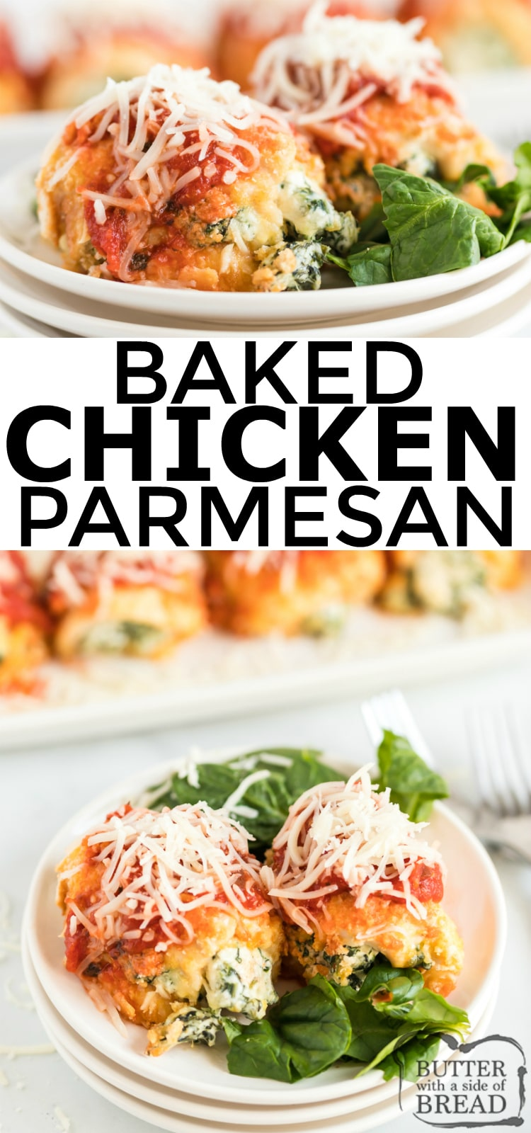 Baked Chicken Parmesan recipe made with tenderized and breaded chicken breasts, baked and smothered in marinara sauce, and topped with melted mozzarella and parmesan cheese.  Your family is going to love this take on a lighter classic Italian easy chicken parmesan.