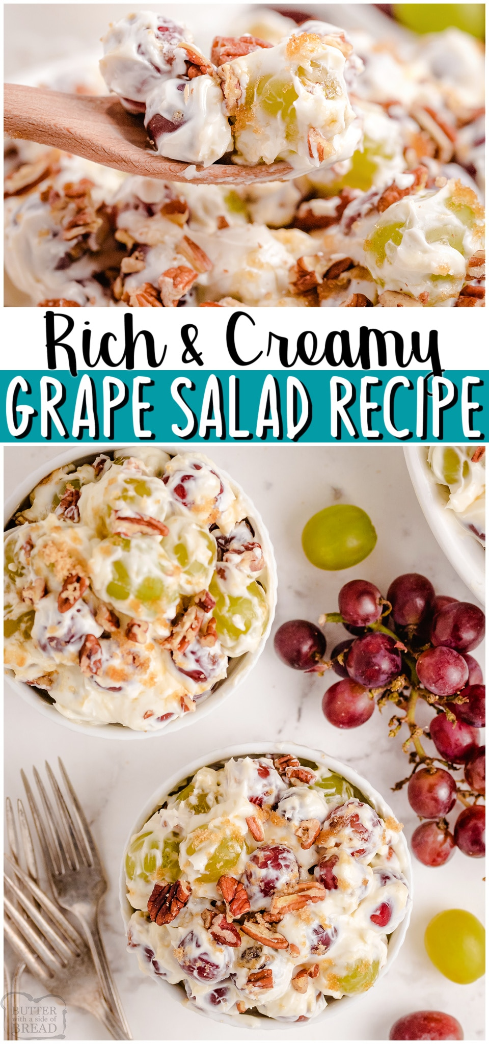 Red and Green Grape Salad tossed with a sweet cream cheese mixture then topped with brown sugar & chopped pecans. Decadent Creamy Grape Salad recipe perfect for special occasions! #grapes #salad #creamcheese #easyrecipe from BUTTER WITH A SIDE OF BREAD
