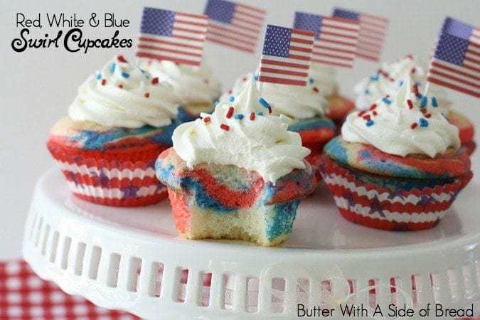 Red, White & Blue Swirl Cupcakes - Butter With A Side of Bread