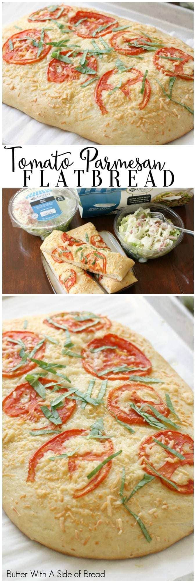 Tomato Parmesan Flatbread recipe made from scratch and topped with fresh tomato, basil and Parmesan cheese. Soft & flavorful homemade flatbread to go alongside dinner.