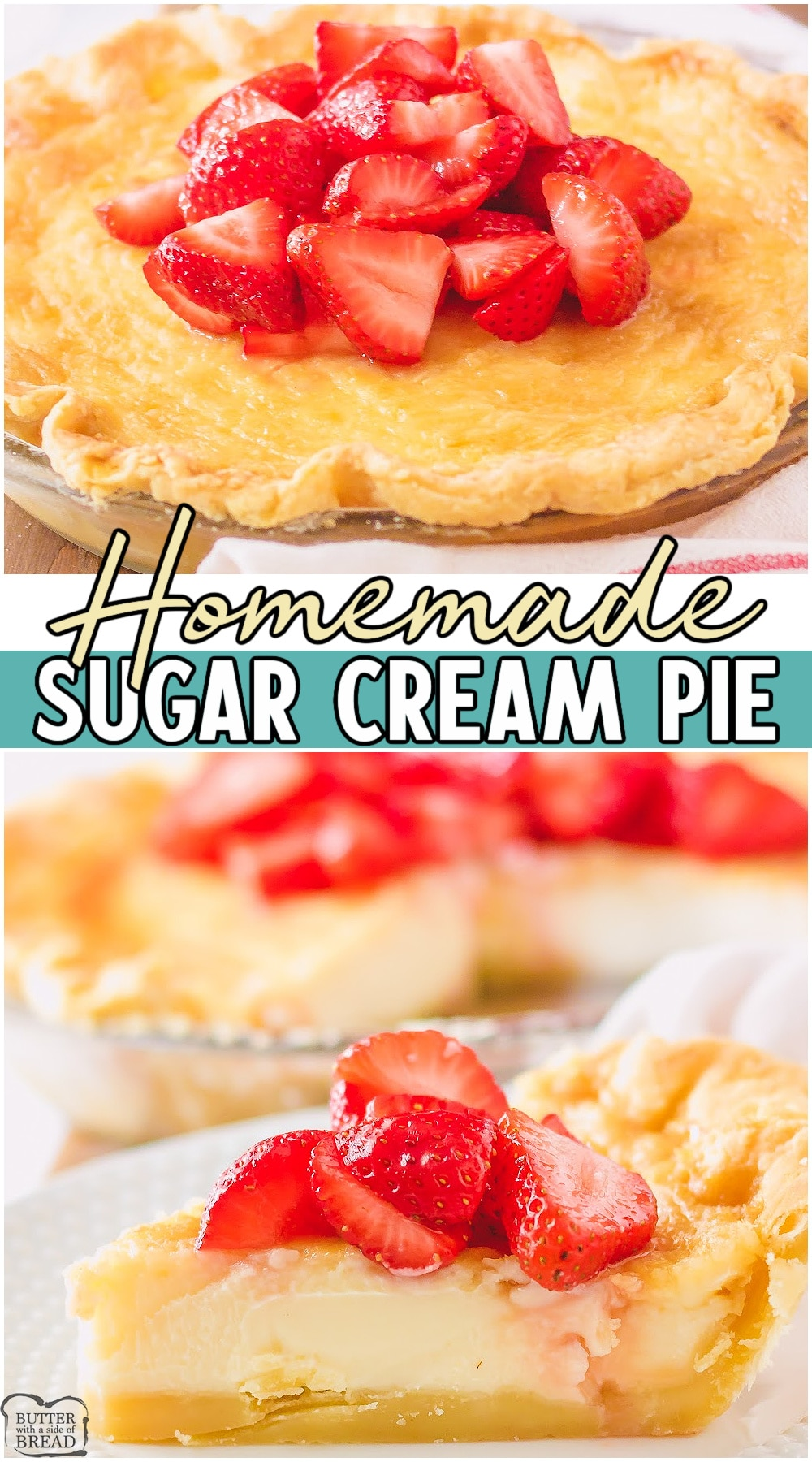 Sugar cream pie is a delicious custard pie made with butter, brown sugar, heavy cream and vanilla. Make this delicious custard pie from scratch today and watch everyone rave! #pie #sugarcream #custard #vanilla #baking #easyrecipe from BUTTER WITH A SIDE OF BREAD