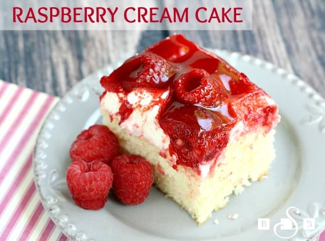 Raspberry Cream Cake begins with a white cake mix that is topped with sweet whipped cream, raspberries and danish dessert.