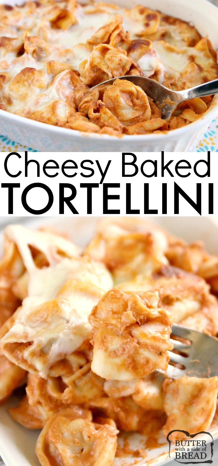 Cheesy Baked Tortellini is made with cream cheese, a jar of spaghetti sauce, cheese tortellini and mozzarella cheese. Only four ingredients in this easy pasta dish that is delicious!