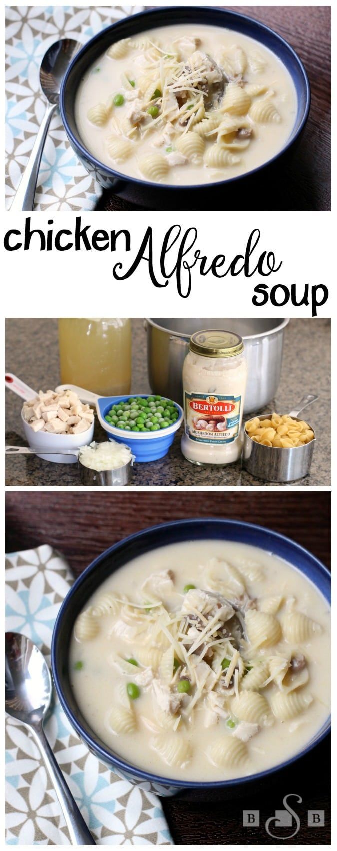 """Chicken Alfredo Soup is a simple and quick recipe for a warm and yummy """"comfort-food"""" soup with the delicious twist of adding Alfredo sauce!"""