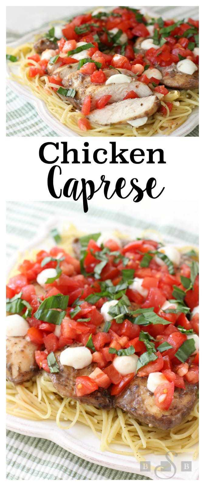 We're having a warm start to Fall here in Utah, which means the tomatoes from my garden are still growing abundantly. It's wonderful! This Chicken Caprese is a variation on a family favorite. I love how simple it is to make. The dish has incredible flavor and I adore the fresh taste. It's easy enough for a weeknight dinner but the end product is so gorgeous, it could easily be for guests.