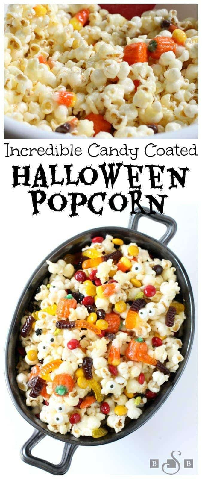 Halloween Popcorn made with a sweet, buttery candy coating then tossed with Halloween candy. It's the perfect festive treat!