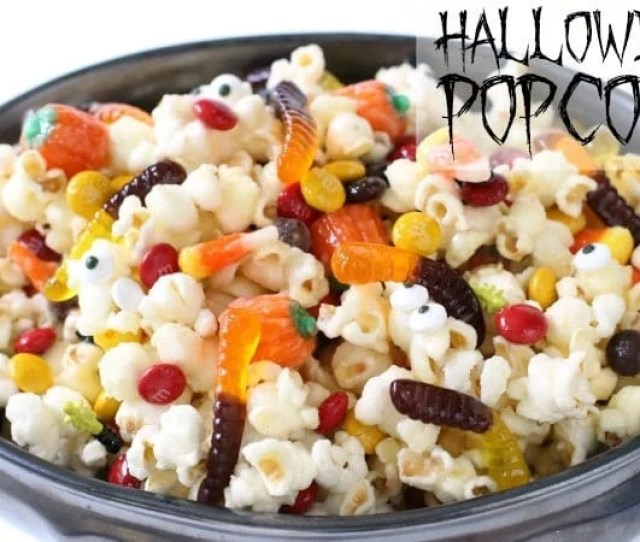 Halloween Popcorn Made With A Sweet Buttery Candy Coating Then Tossed With Halloween Candy