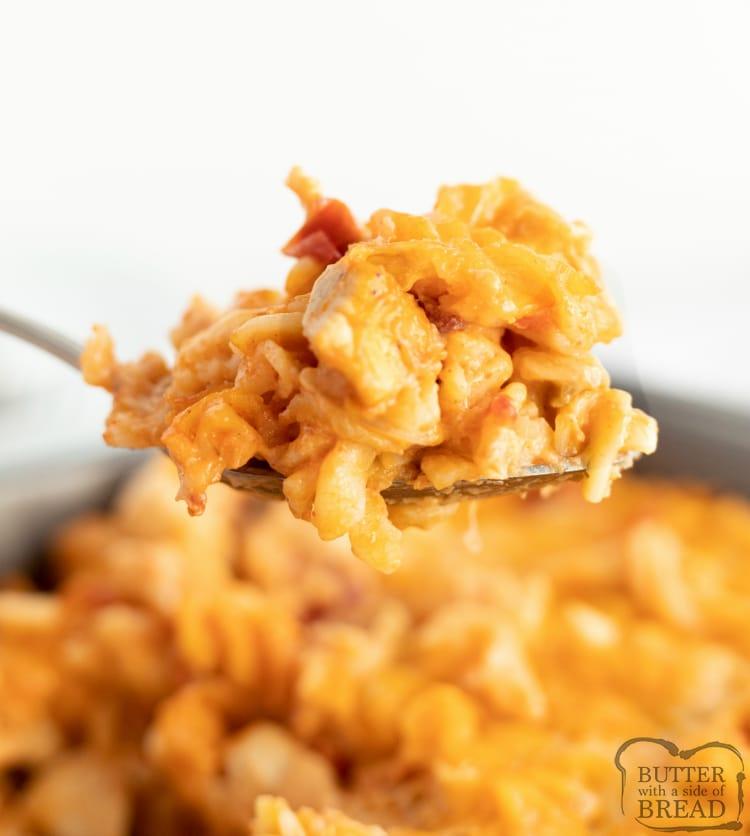 Chicken alfredo pasta with a southwestern twist