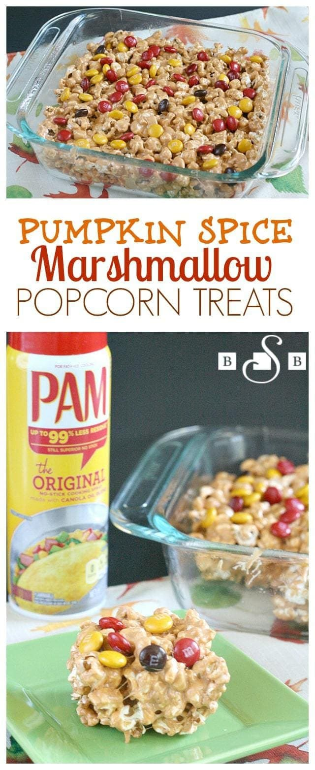 Pumpkin Spice Marshmallow Popcorn Treats - Butter With a Side of Bread