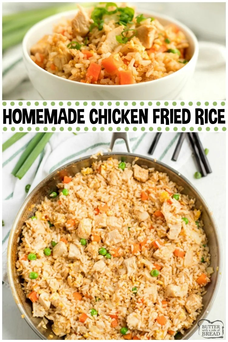 Chicken Fried Rice Recipe is a perfect weeknight dinner idea! Simple to make and trust me, homemade fried rice tastes SO much better.  Instructions for how to make fried rice using simple ingredients.