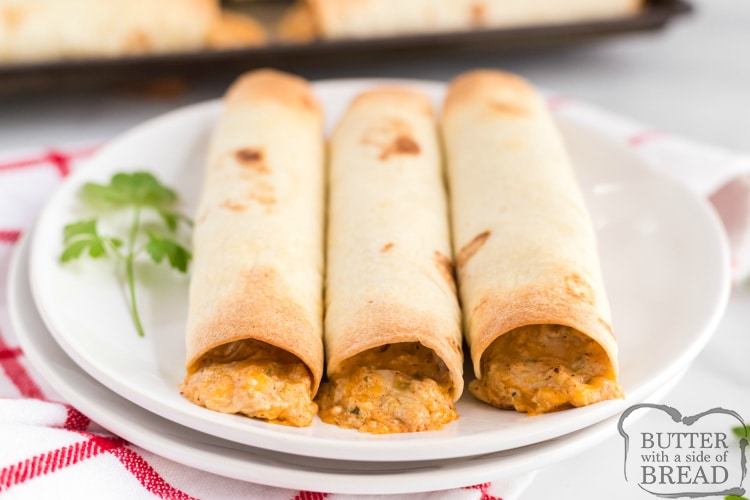 Homemade baked taquitos with chicken and cheese