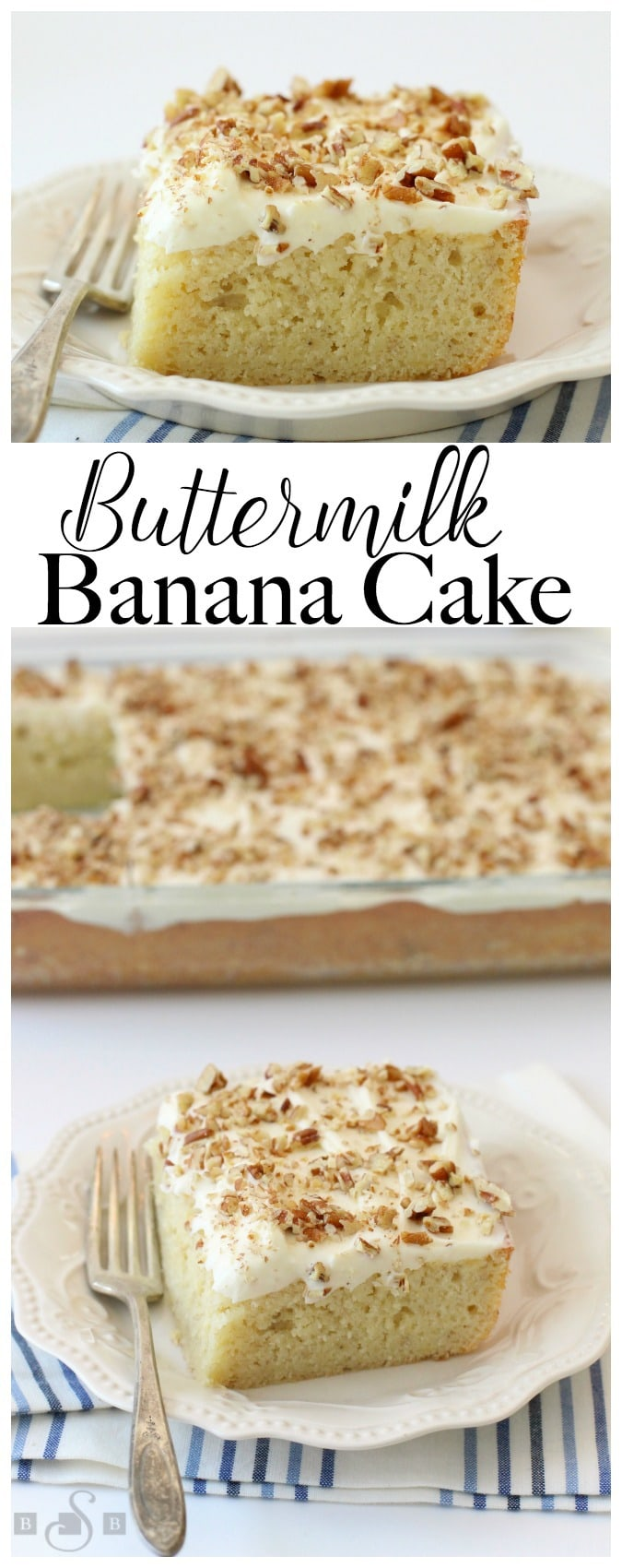 Buttermilk Banana Cake recipe topped with cream cheese frosting for anyone who loves bananas! Fantastic flavor in this moist banana cake- don't skimp on the frosting!