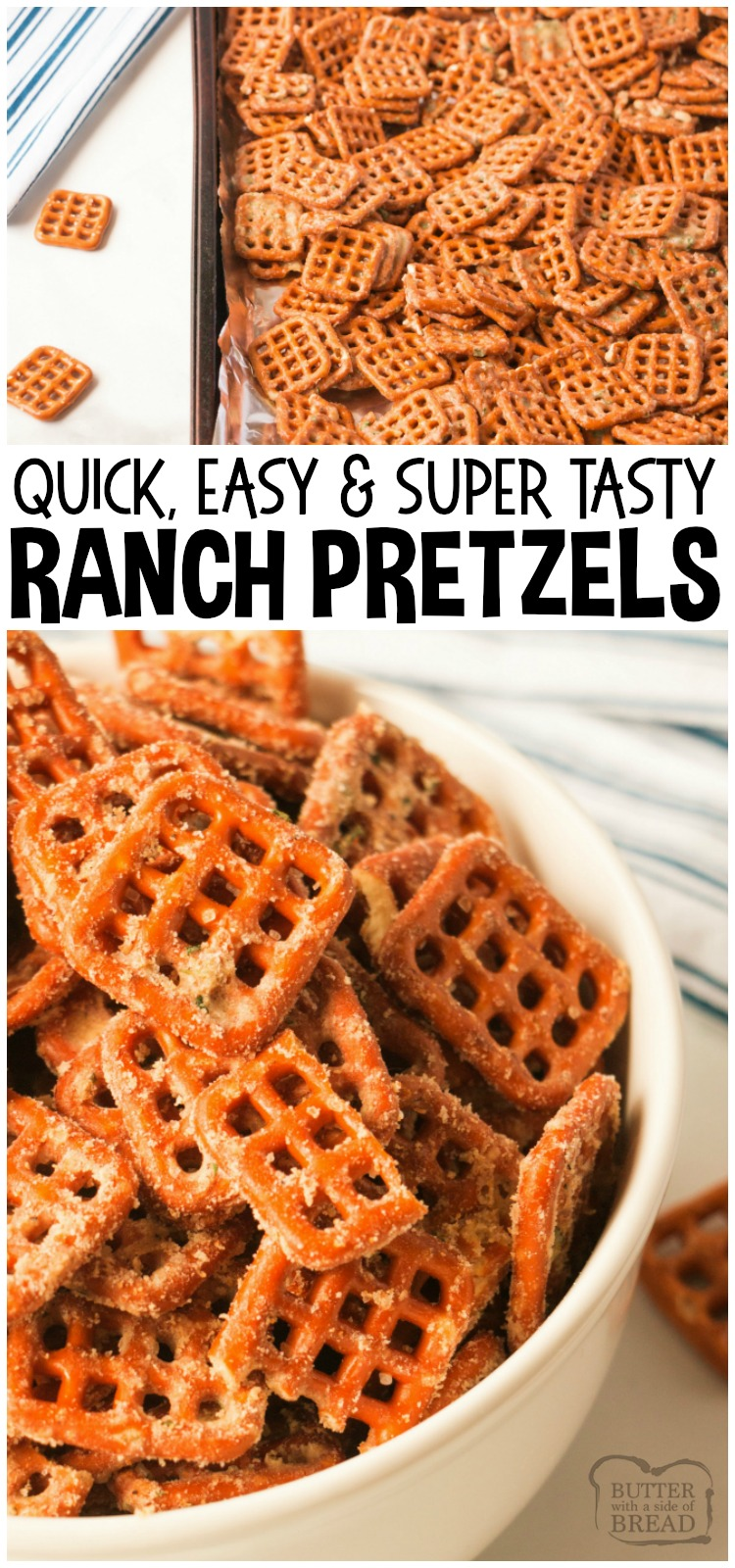 Easy Ranch Pretzels made with just a few ingredients and so insanely delicious, everyone asks for this recipe! Simple appetizer to make and perfect for game day, a party or any get-together! #ranch #pretzels #snacks #food #appetizers #recipe from BUTTER WITH A SIDE OF BREAD