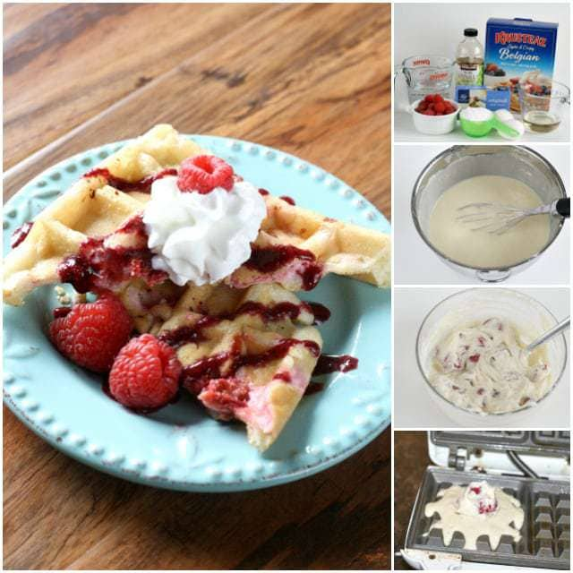 Raspberries and Cream Stuffed Waffles - Butter With a Side of Bread