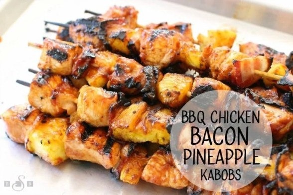 BBQ Chicken Bacon Pineapple Kabobs recipe is an incredible twist on a classic. Tender chicken grilled with pineapple, bacon & slathered with your favorite BBQ sauce.
