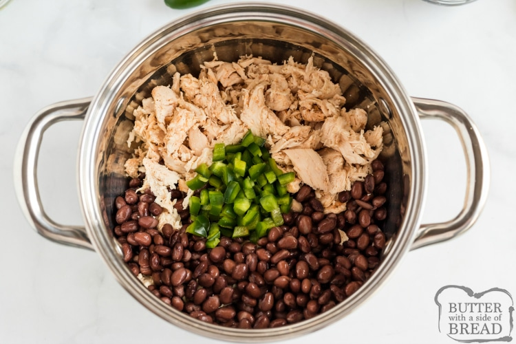 Black beans, chicken and jalapenos