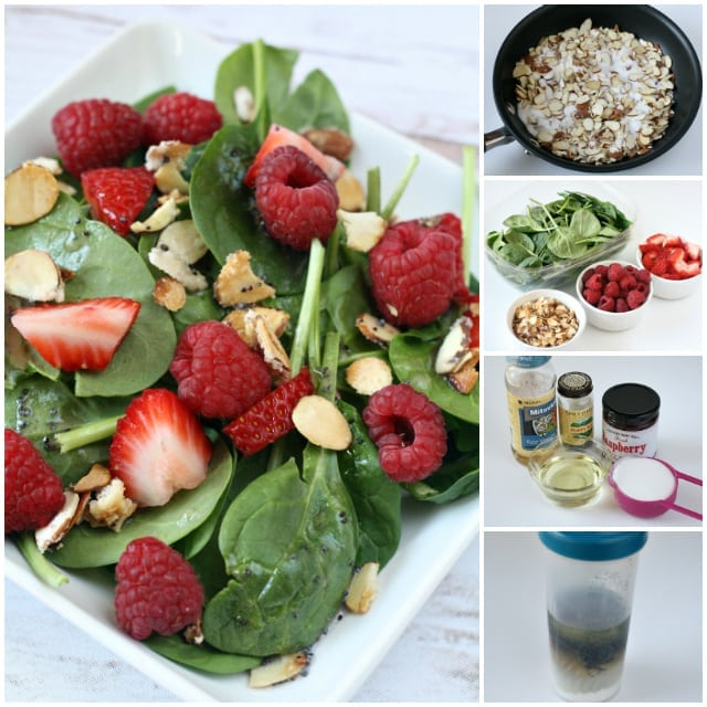 Berry Spinach Salad with Raspberry Poppy Seed dressing is the perfect side dish for any meal, especially in the summertime!