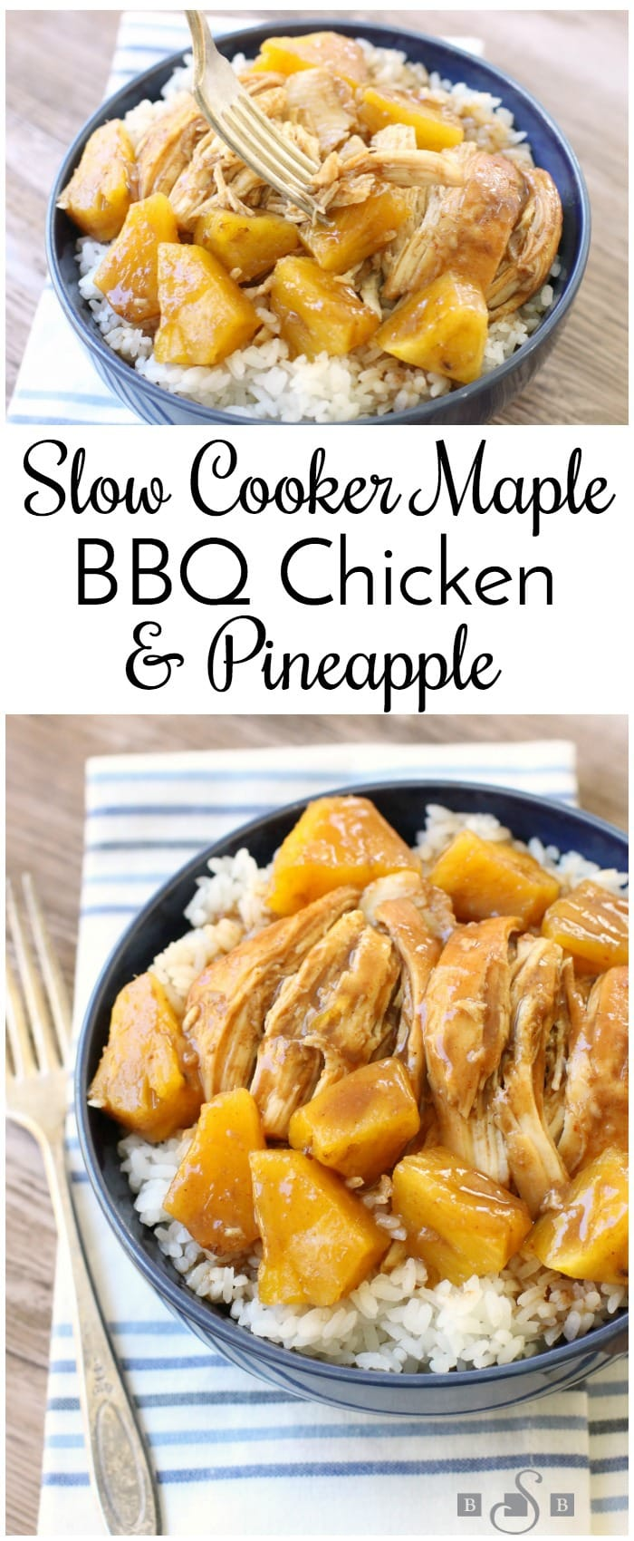 Slow Cooker BBQ Chicken is sweet, tangy and super easy to make. Add in pineapple and serve over rice for a complete chicken dinner.