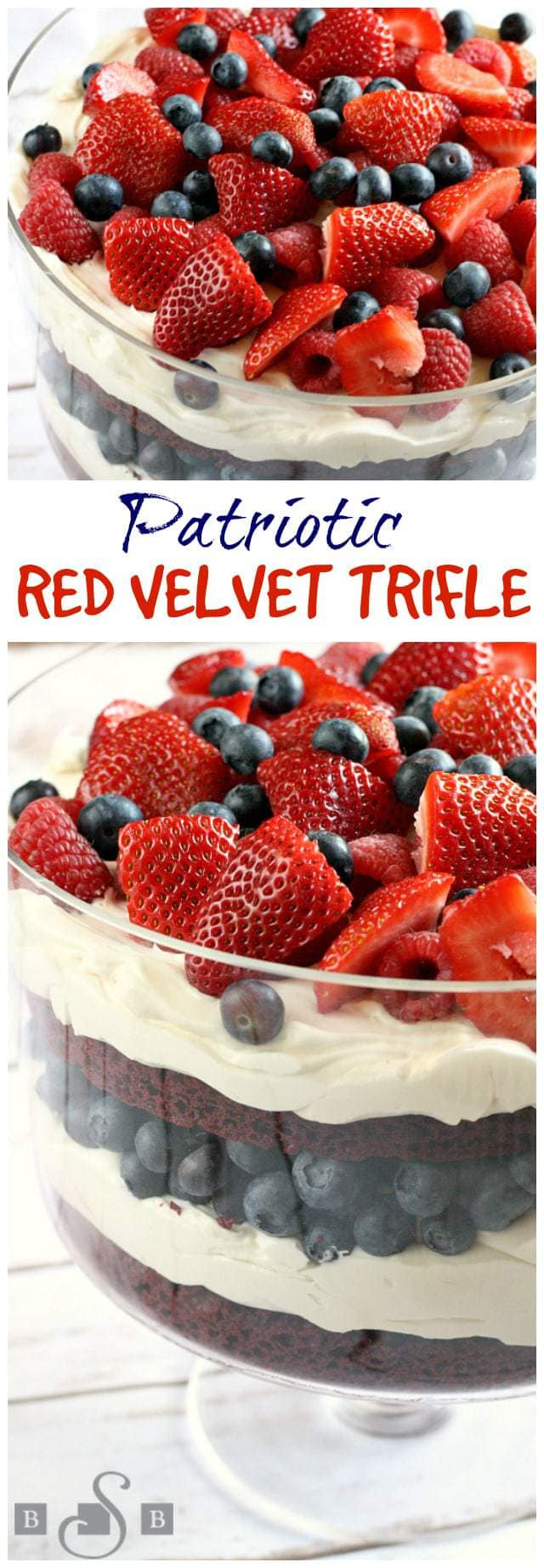 I love making trifles because they look so fancy, but they are so easy to put together! I had never made one with red velvet cake before, but it is the perfect base for a patriotic dessert, especially when topped off with blueberries, raspberries and strawberries! I just used a boxed mix for the cake and it turned outto be an amazing dessert!
