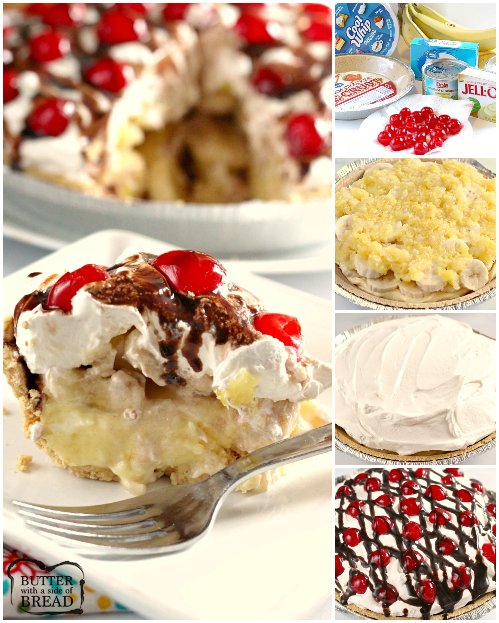 Banana Split Pie is an easy no-bake dessert made with a graham cracker pie crust full of cream cheese, bananas, whipped cream, pineapple, chocolate syrup and cherries. A refreshing banana split dessert that is easy to make and serve!