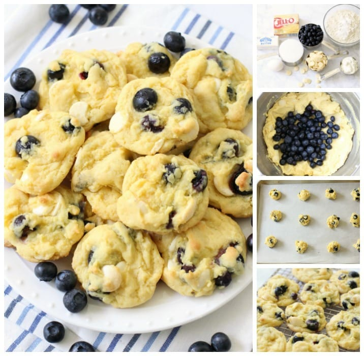 Blueberry Cream Cookies are soft and sweet, and you can't help but enjoy the blueberry flavor that comes from fresh blueberries folded into a lovely vanilla pudding cookie dough.