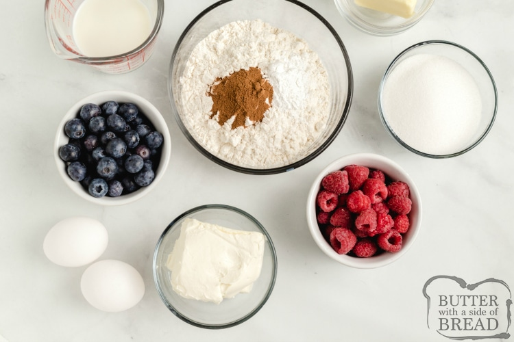 Ingredients in berry muffins with cheesecake filling