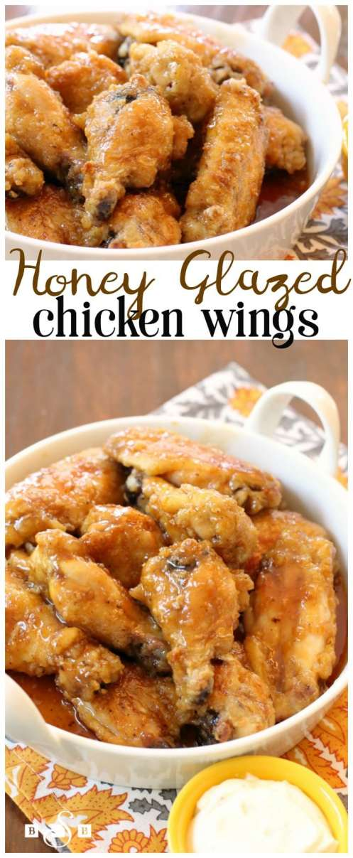 Honey Glazed Chicken Wings - Butter With A Side of Bread. Honey Glazed Chicken Wings are easily my favorite kind of baked chicken wings. Smothered with a delicious sweet glaze, this baked chicken wings recipe are literally finger-lickin' good!