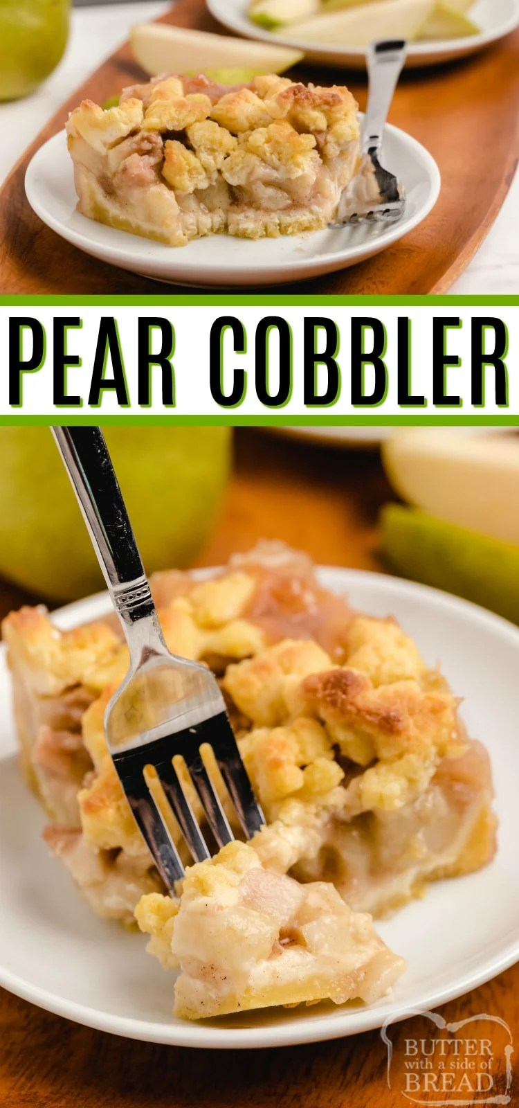 Pear Cobbler made with a simple buttery crust and lots of fresh pears to make a delicious baked pear dessert. So yummy straight out of the oven, especially with a big scoop of vanilla ice cream!