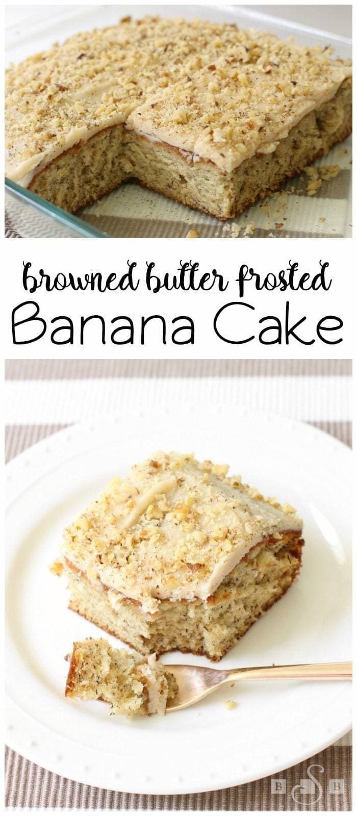 Frosted Banana Cake made from scratch in no time! Lovely banana flavor combined with rich, buttery frosting and topped with chopped nuts. Delicious moist banana cake recipe!