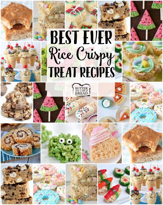Rice Crispy Treat recipes for any and all occasions! From salted caramel to churro and everything in between, you're sure to find a rice crispy treat recipe you'll love. Our basic recipe for Krispie Treats is THE BEST!