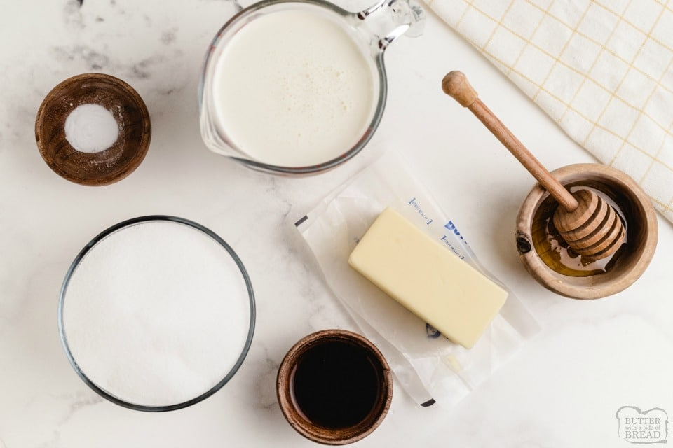 Homemade Vanilla Butter Syrup ingredients
