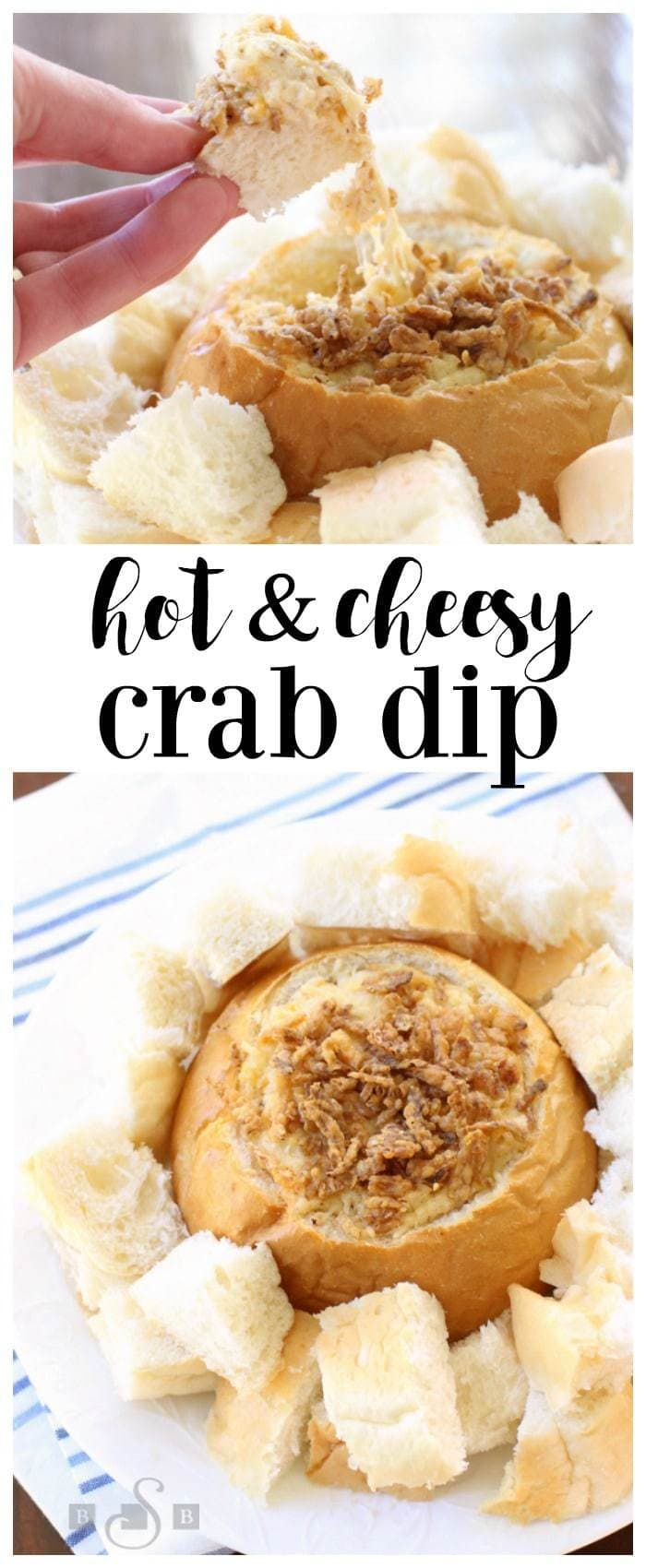 Three different types of cheeses combine with delicate crab and fresh bread to make this recipe unforgettable. A perfect appetizer for any party or get-together, this Cheesy Crab Dip is a crowd pleaser.