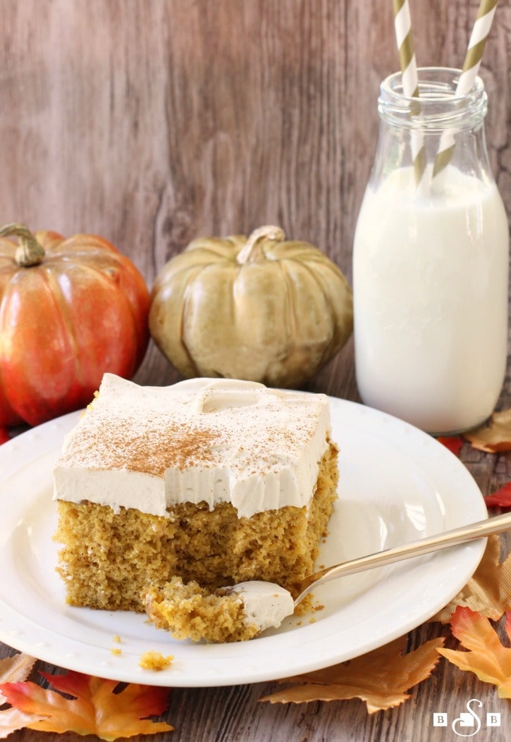 Pumpkin Poke Cake takes an ordinary cake mix and turns it into this deliciously festive treat filled with pumpkin, cinnamon, and nutmeg flavors.
