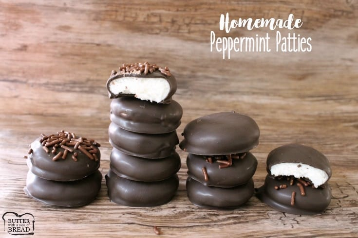 Peppermint Patties made from scratch with a handful of ingredients! Easily combine butter, sugar & peppermint then dip in chocolate for these tasty treats!