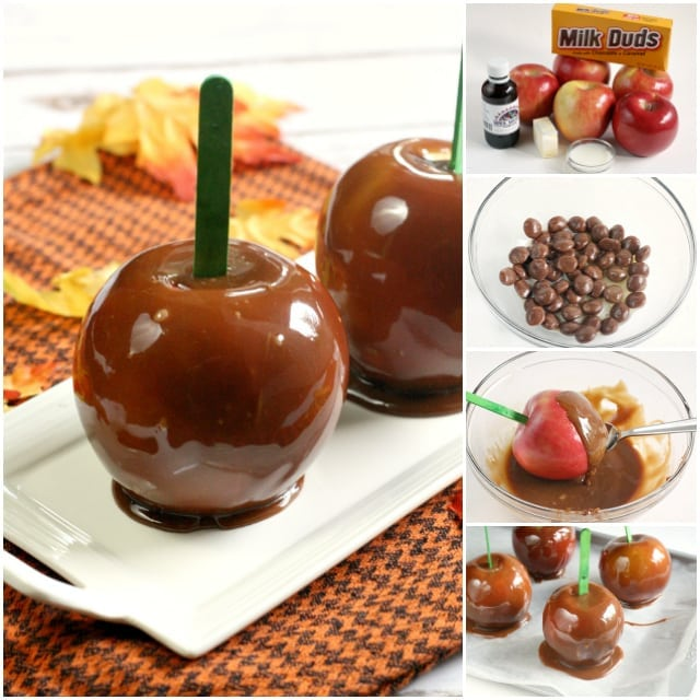 Chocolate Caramel Apples are made with melted Milk Duds instead of regular caramels, adding a bit of chocolate flavor to the classic caramel coated apples!