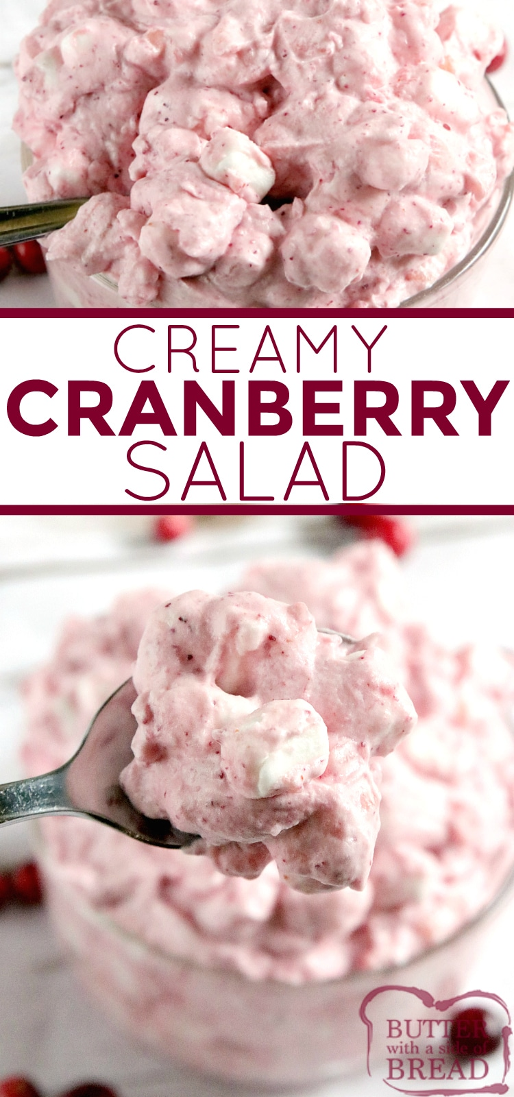 Creamy Cranberry Salad is made in minutes with only five ingredients! This cranberry salad recipe is made with fresh cranberries, crushed pineapple, whipping cream and marshmallows.