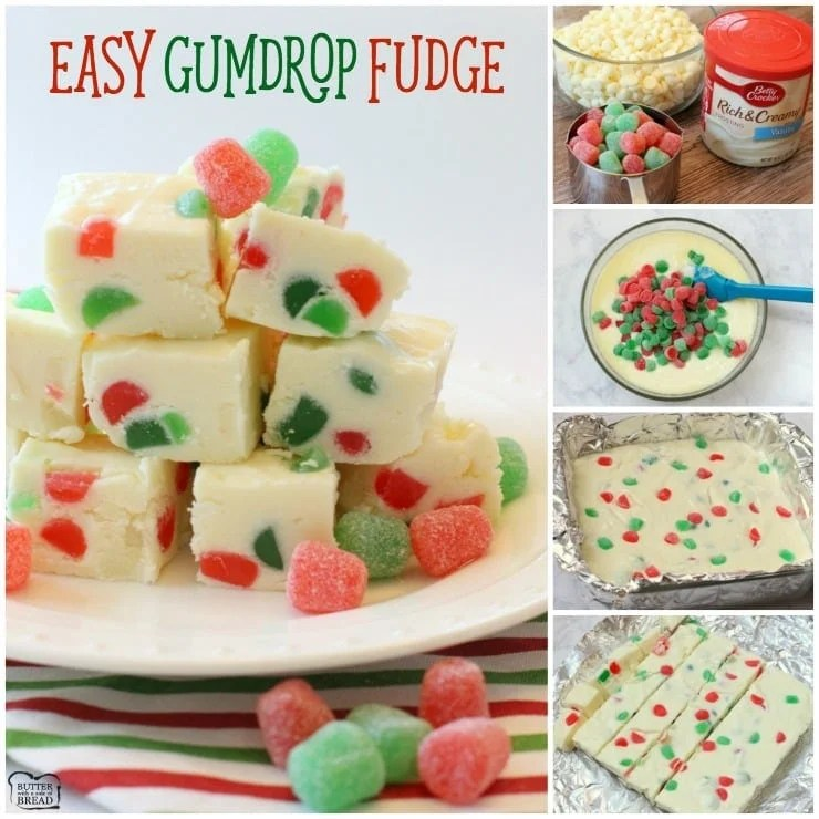 Gumdrop Fudge that is so simple, delicious and festive! Just 3 ingredients and it comes together in minutes. Perfect Christmas fudge recipe!