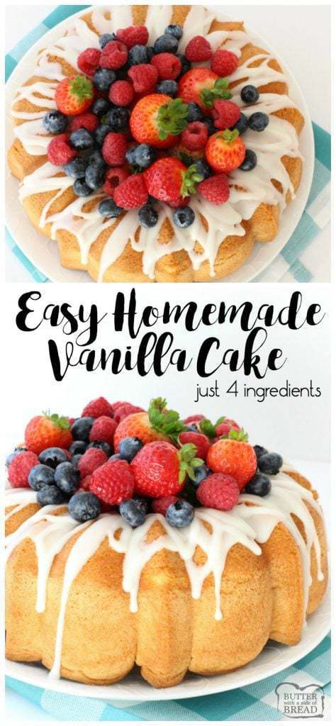 Homemade Vanilla Cake is the easiest homemade cake recipe ever! Just 4 ingredients you likely already have on hand: sugar, eggs, flour and vanilla. Simple & easy cake recipe that's a cross between angel food cake and sponge cake.