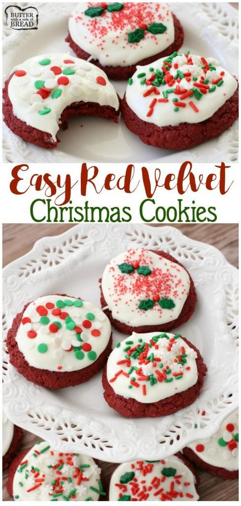 Red Velvet Christmas Cookies are buttery and rich, topped with cream cheese icing and holiday sprinkles to make these festive cookies irresistible!
