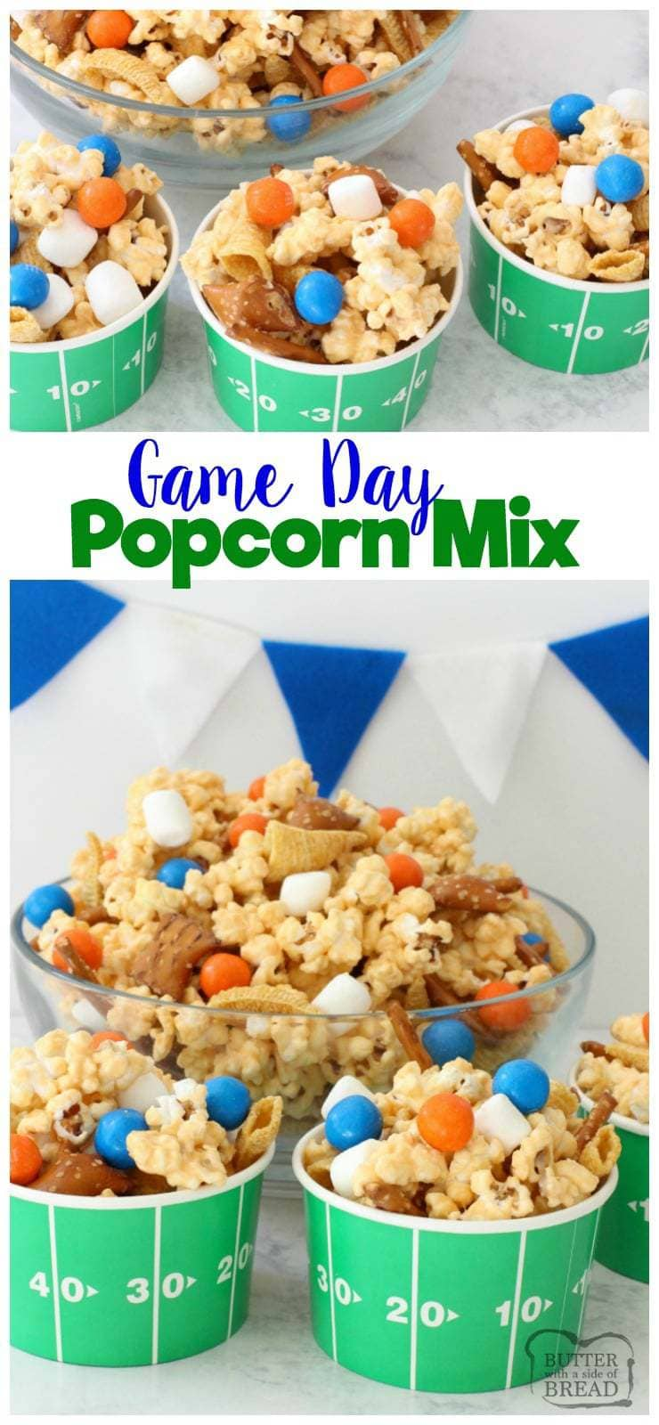 Easy Popcorn Snack Mix is sweet, salty, & perfect for excited sports fans! Customize candy colors to celebrate your team in this snack mix recipe!