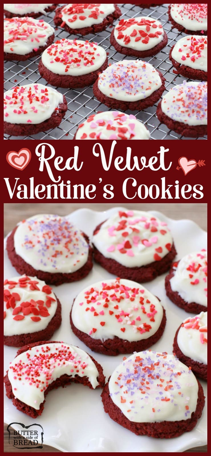 Red Velvet Valentine Cookies are rich and delicate red velvet cookies with cream cheese frosting. Unlike baking red velvet cake, these cookies are easy to make and practically foolproof!